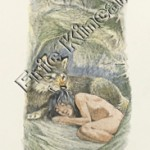 Jungle Book page 50 Mogli asleep with wolf in the forest