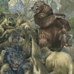 Baloo saving Bagheera from the Monkeys